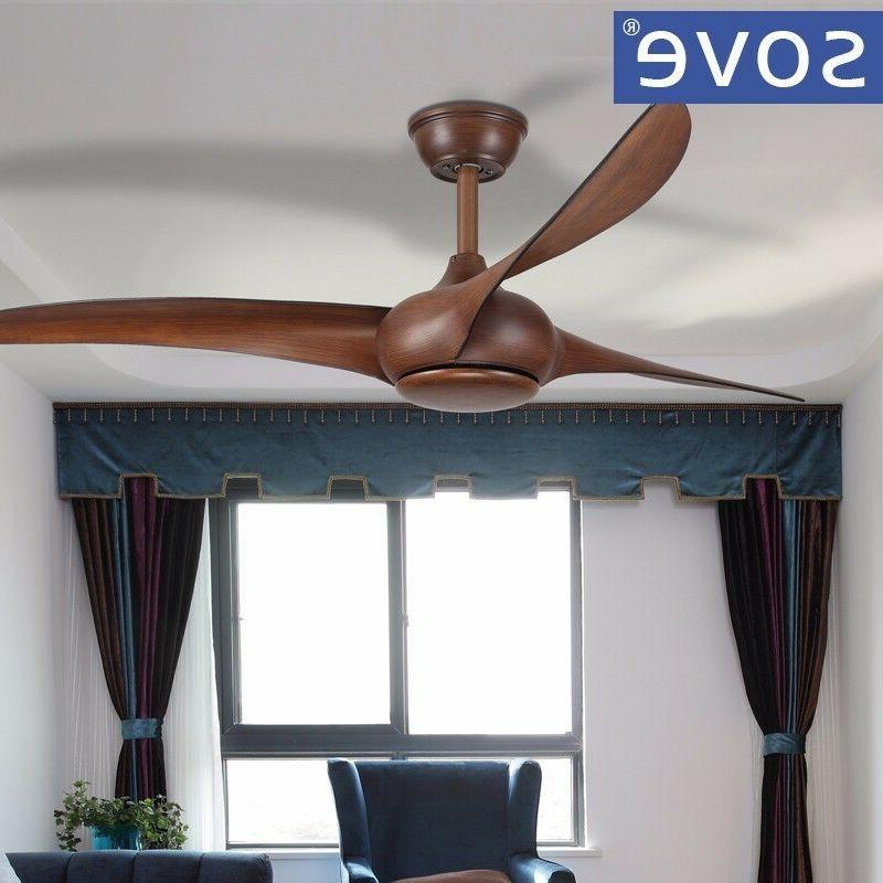 SOVE Brown ceiling fans light dining living room remote control