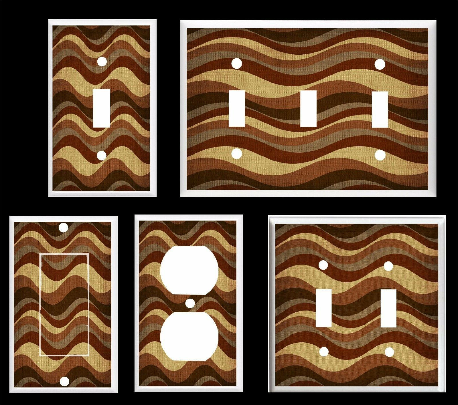brown horizontal wavy lines light switch cover