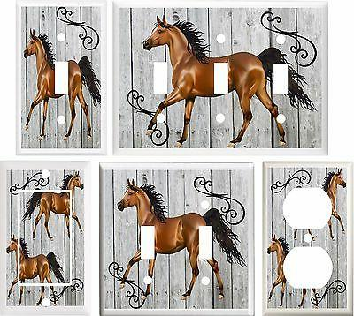 brown horse stallion light switch cover plate