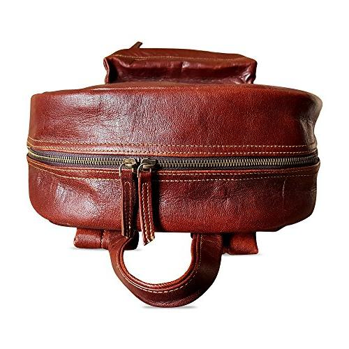 """18"""" Leather Vintage Rucksack Water Resistant Casual Travel Backpack for"""