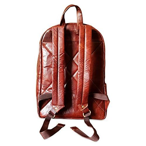 """18"""" Leather Vintage Rucksack Water Resistant Casual College Travel for"""