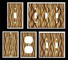 BROWN VERTICAL WAVY LINES  LIGHT SWITCH COVER PLATE
