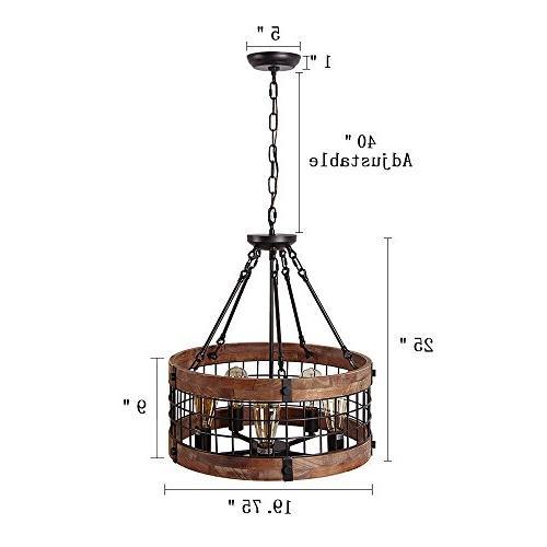 Anmytek Wooden Chandelier Ceiling Lights,