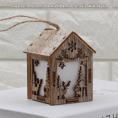 Christmas Wooden Night Light Snowman Elk Bell Lights Lantern