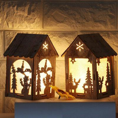 Christmas Wooden Night Snowman Lights Lantern Decor