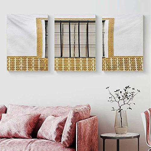 """Mannwarehouse Country Wall Modern and Shutters with Patterns Urban City Art Set Brown W x 40"""" x3pcs"""