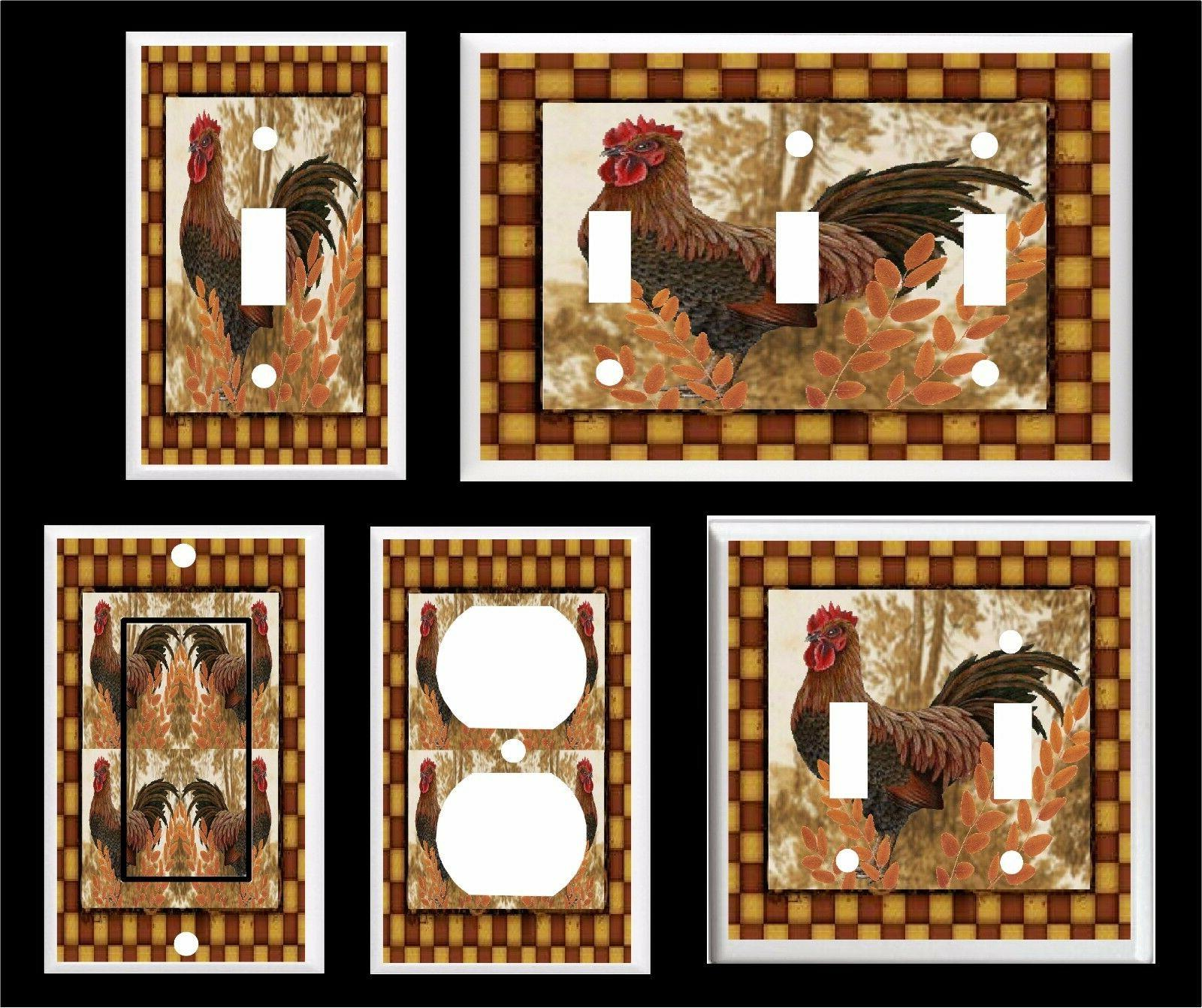 country rooster brown primitive light switch cover