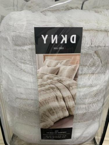 DKNY Cozy Luxe Faux Fur Light White KING Comforter 3 ~New~