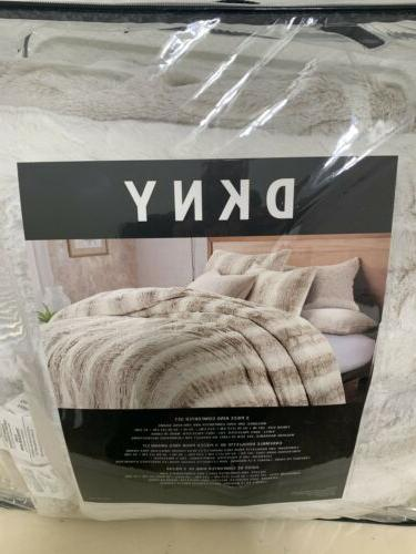 DKNY Fur Light Grey White KING Comforter Set 3 ~New~