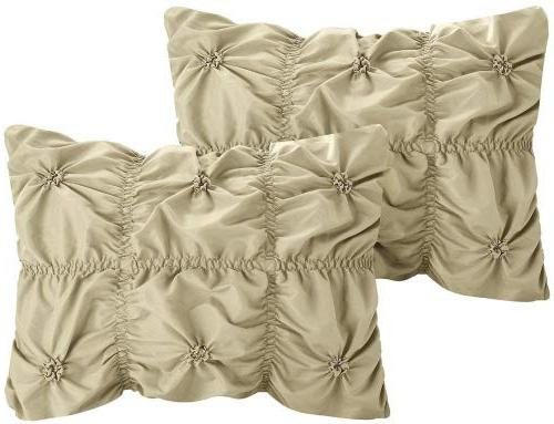 Chic Pinch Ruffled Embellished Bedding Bed Skirt Shams Included,