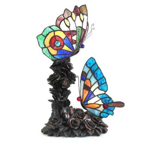 """EDITH 2 -style 2 Light Butterfly Table Lamp 10"""" Wide"""