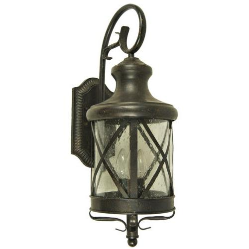 Y Decor Transitional, 4 Exterior Outdoor Scone Fixture Oil Rubbed Bronze with Seedy Glass Large, Oil Rubbed Brown
