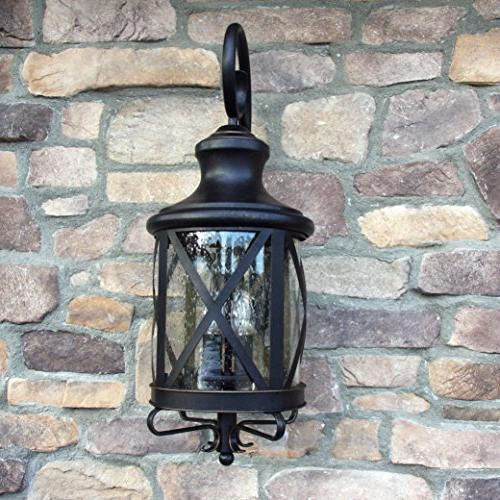 Transitional, Traditional 4 Exterior Outdoor Fixture with Clear Large, Rubbed Brown