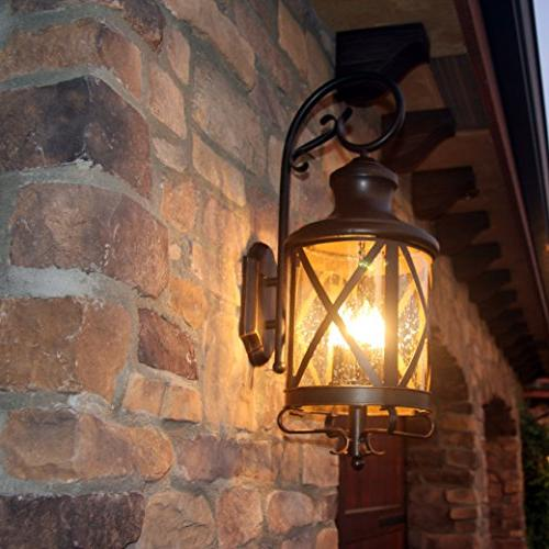 Y Decor EL543OR-L Transitional, Traditional 4 Light Exterior Outdoor Wall Fixture with Clear Seedy Large, Brown