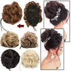 Elegant Lady Messy Updo Curly Wavy Bun Chignon Clip in Hair