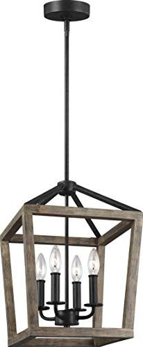 Feiss F3190/4WOW/AF Gannet Wood Lantern Pendant Lighting, Br