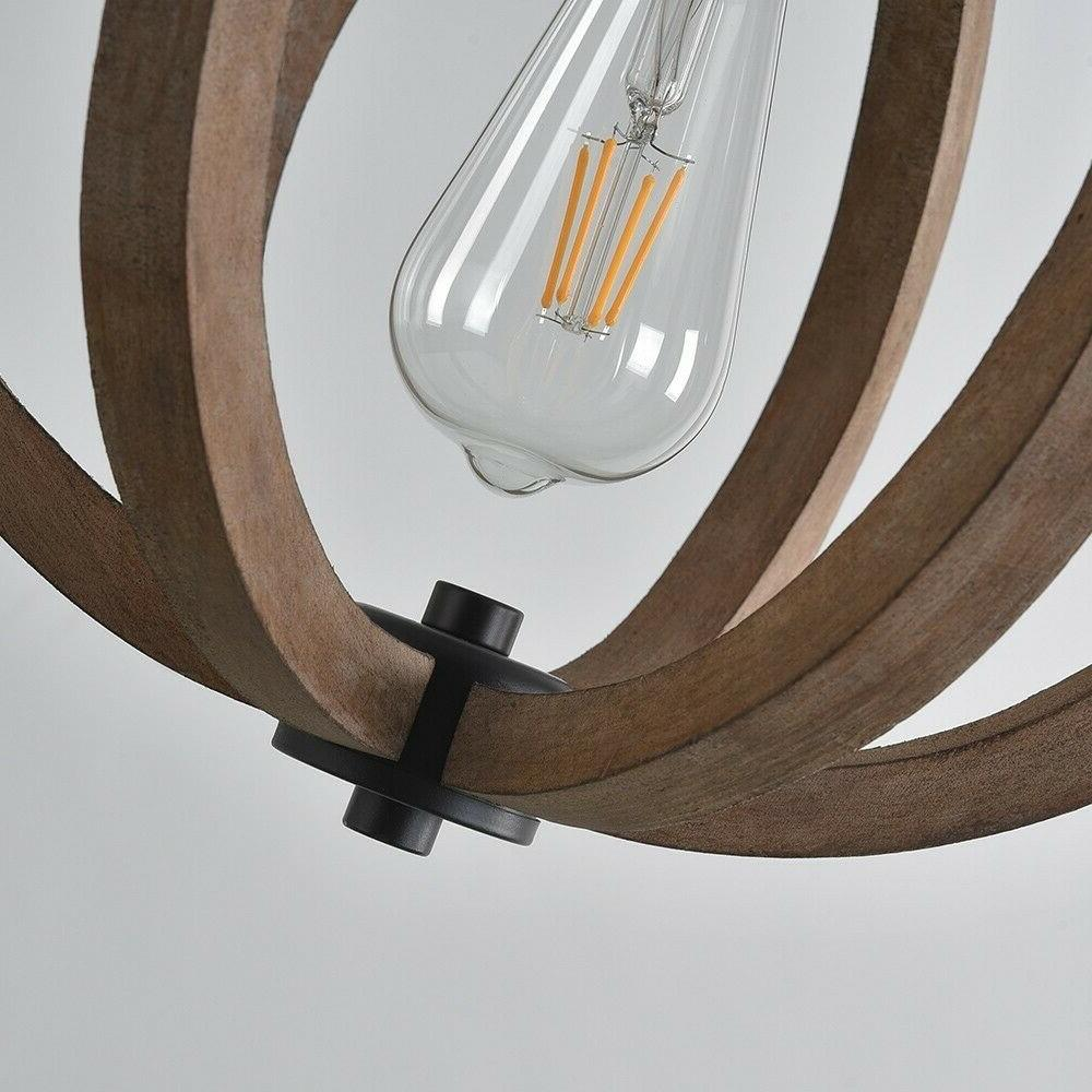 Farmhouse Wood Cage Pendant Brown Lamp