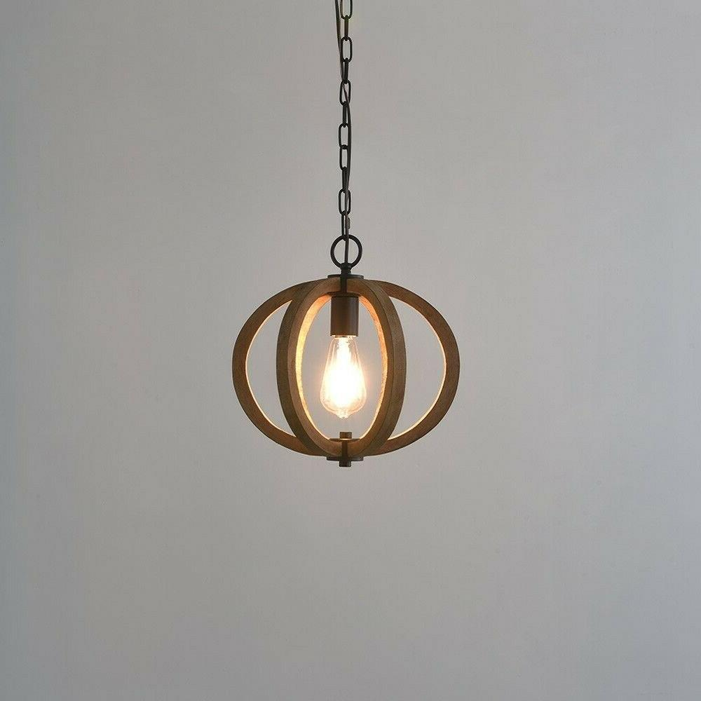 Farmhouse Wood Cage Mini Brown Ceiling Lamp Fixture