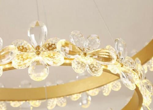 Flower Light LED Crystal Chandeliers Ring Fixture