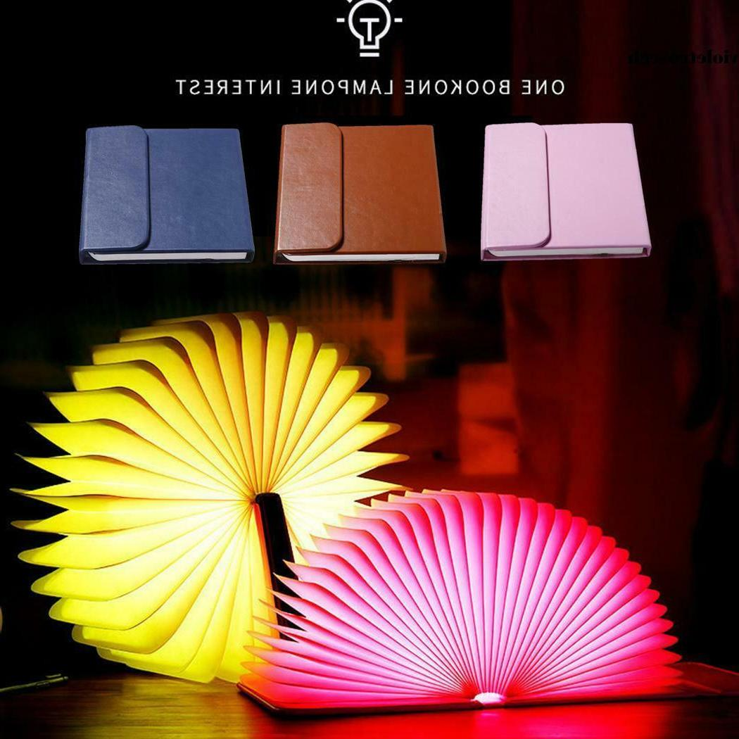 folding book shaped night light bedroom lamps