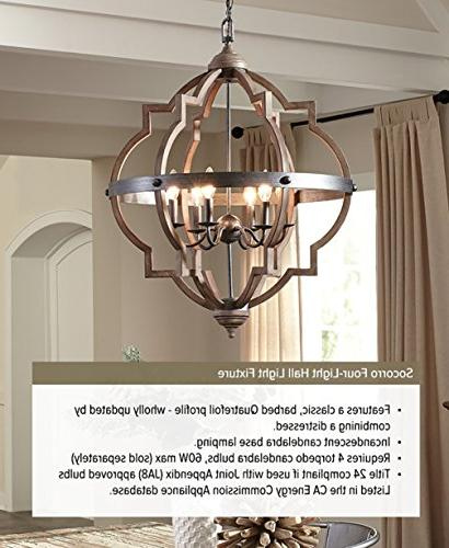 Socorro Four-Light Hall Foyer Light Fixture, Finish