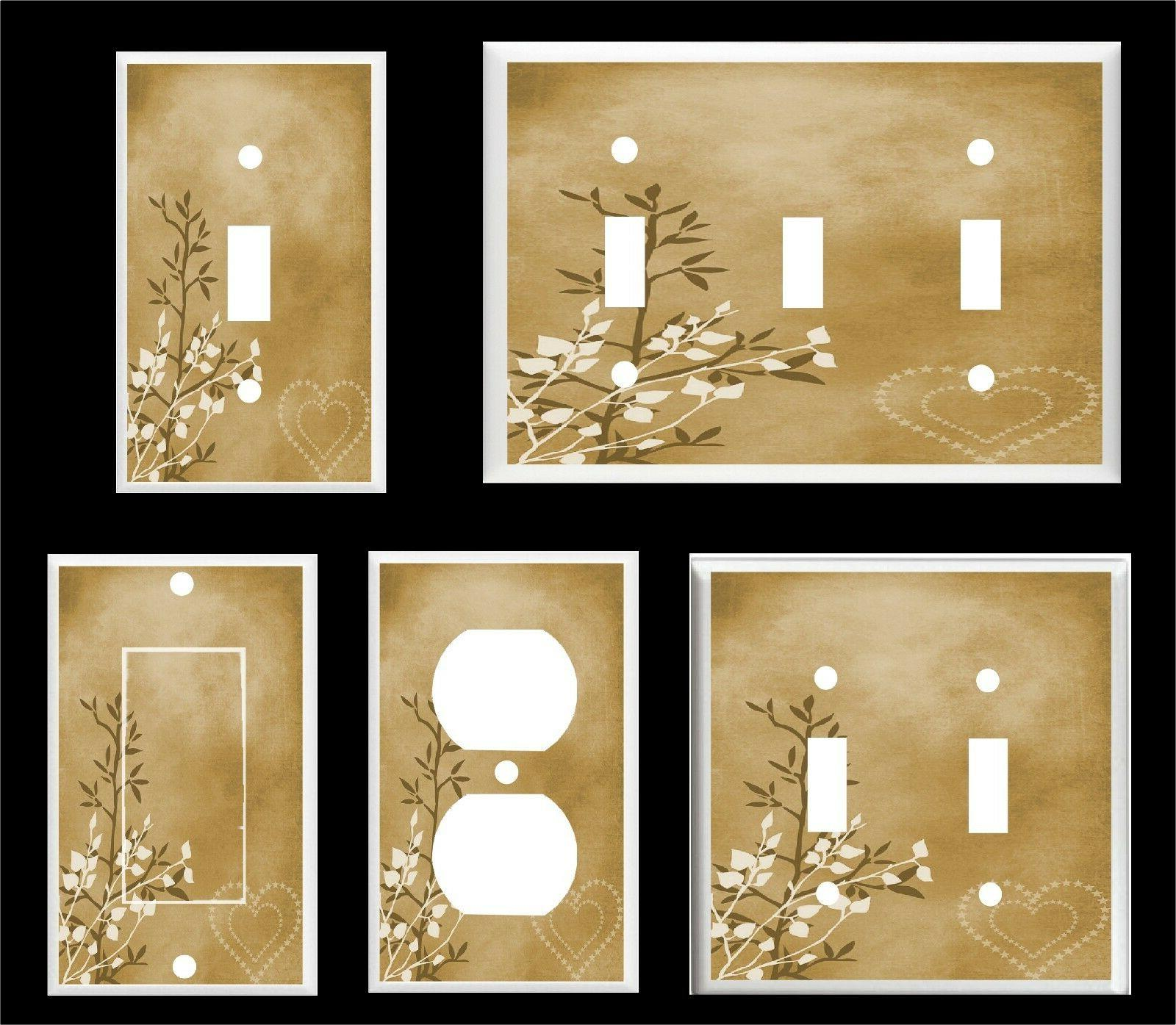 hearts and leaves brown tones light switch