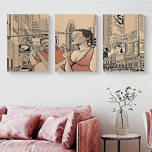 """Music Wall Jazz Player in Street of New Lifestyle Triptych Brown Beige 20"""" L 40"""""""