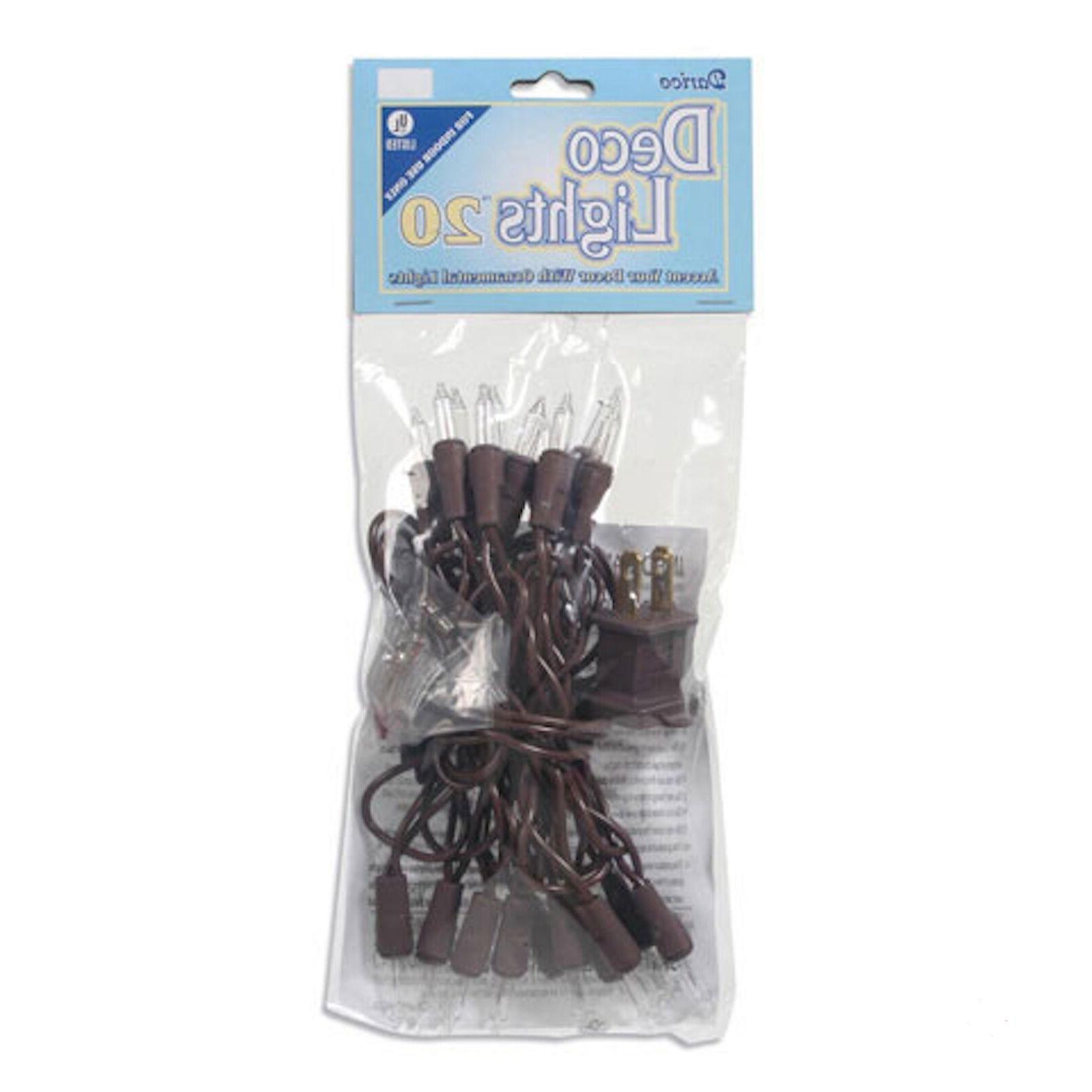 Light Set String - Miniature Bulbs - 20 - Brown - Christmas