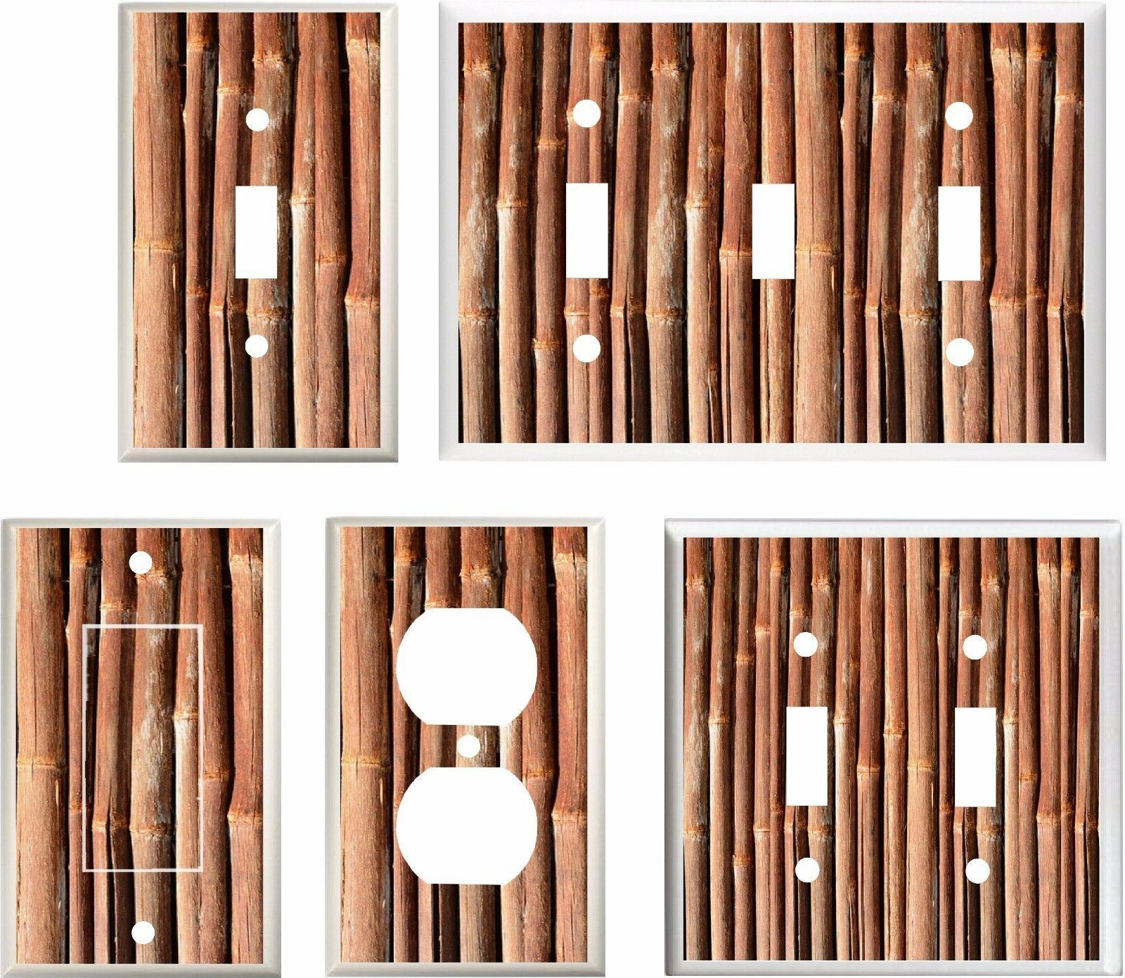 LIGHT SWITCH COVER PLATE  BAMBOO STALKS  BROWN TONES  K1