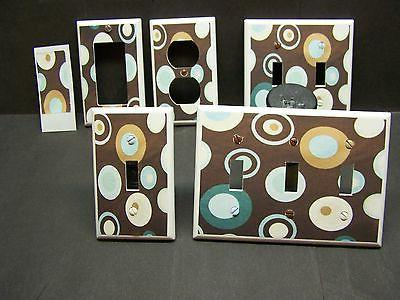 LIGHT SWITCH COVER PLATE OR OUTLET DOTS BROWN BLUE TEAL HOME