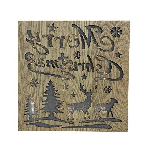 lighted wooden merry christmas