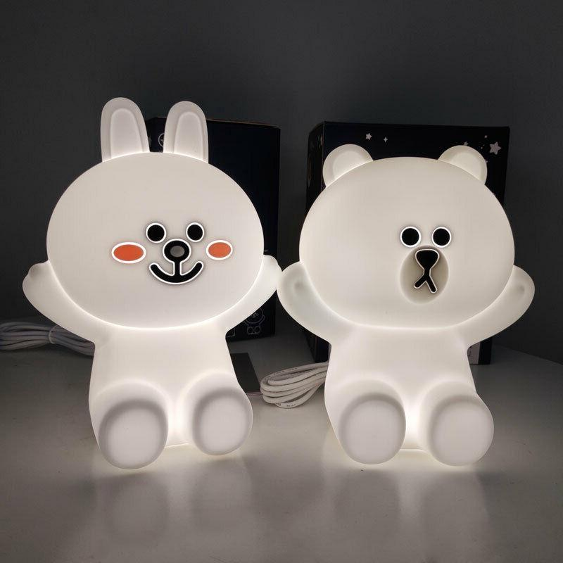line friends touch night lights bear brown