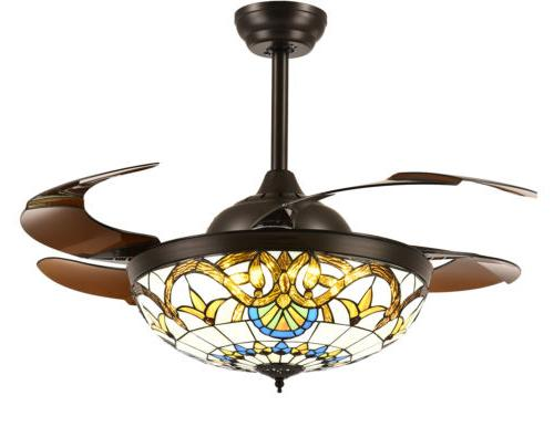 Mediterranean Ceiling Fans Lights Foldable