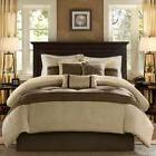 Neutral Comforter Set Floral Print Taupe Light Brown Striped