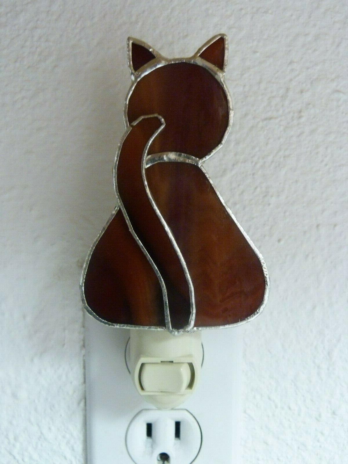night light brown stained glass cat wall