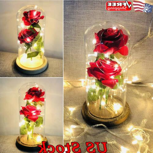 romantic led rose battery powered red flower
