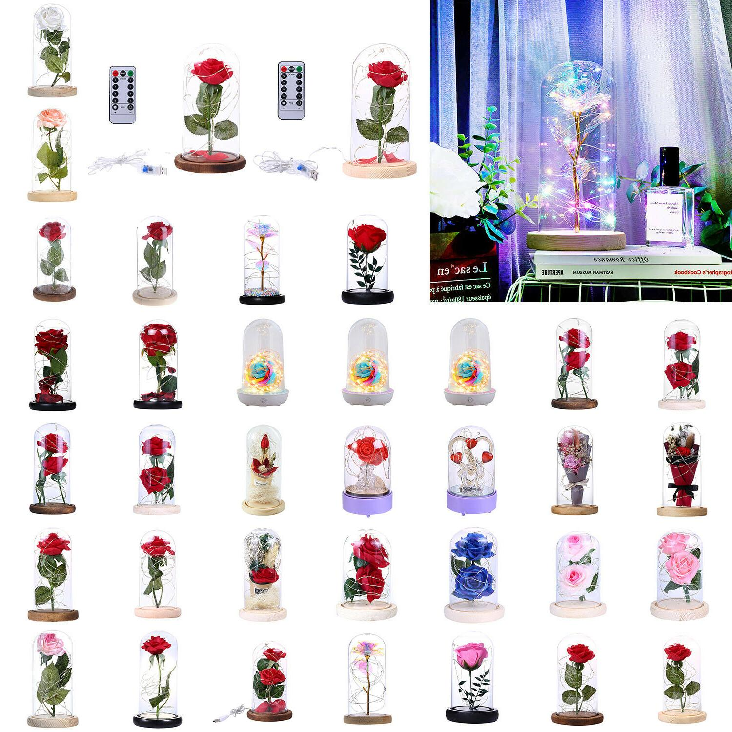 rose flower glass night lights dome copper