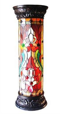 Ruby Spectacle Tiffany-Glass 2-Light Victorian 30 H Pedestal