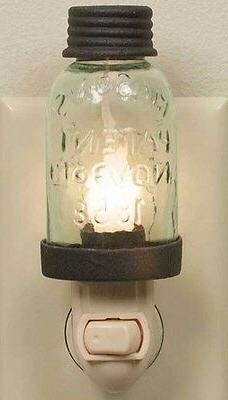 Rustic Brown Vintage Style Miniature Mason Jar Night Light w