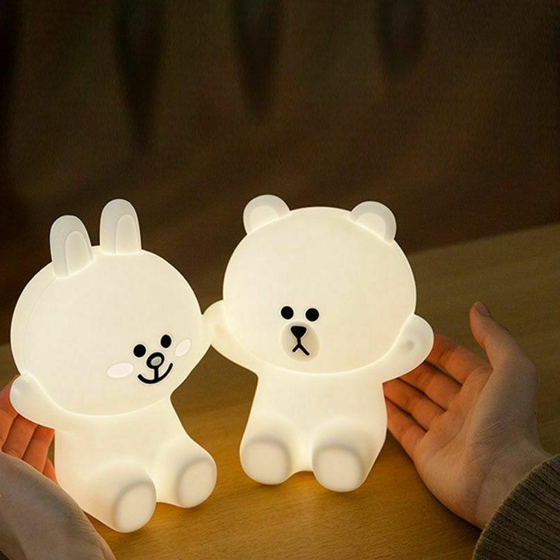 Silicone Bears Bedside Lamps LED Cony Rabbit Night Bedroom
