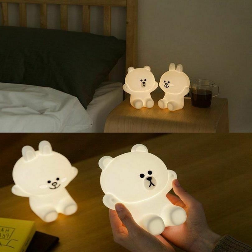 Silicone Bears Bedside LED Brown Rabbit Bedroom