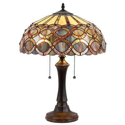 stained glass 2 light table lamp ch38435gg16