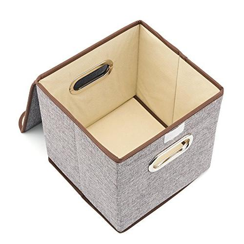 Fabric Organizer Boxes Containers with Lid For Bedroom Shelf
