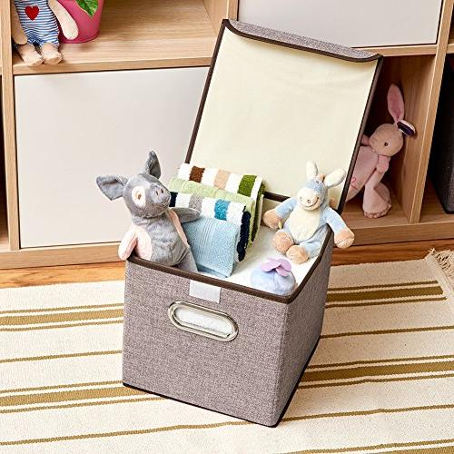 Storage Fabric Foldable Basket Organizer Containers with For Office Nursery Shelf