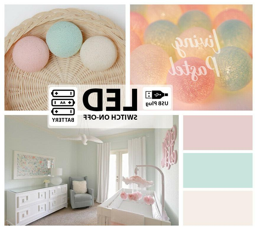 sweet pastel cotton ball string lights led