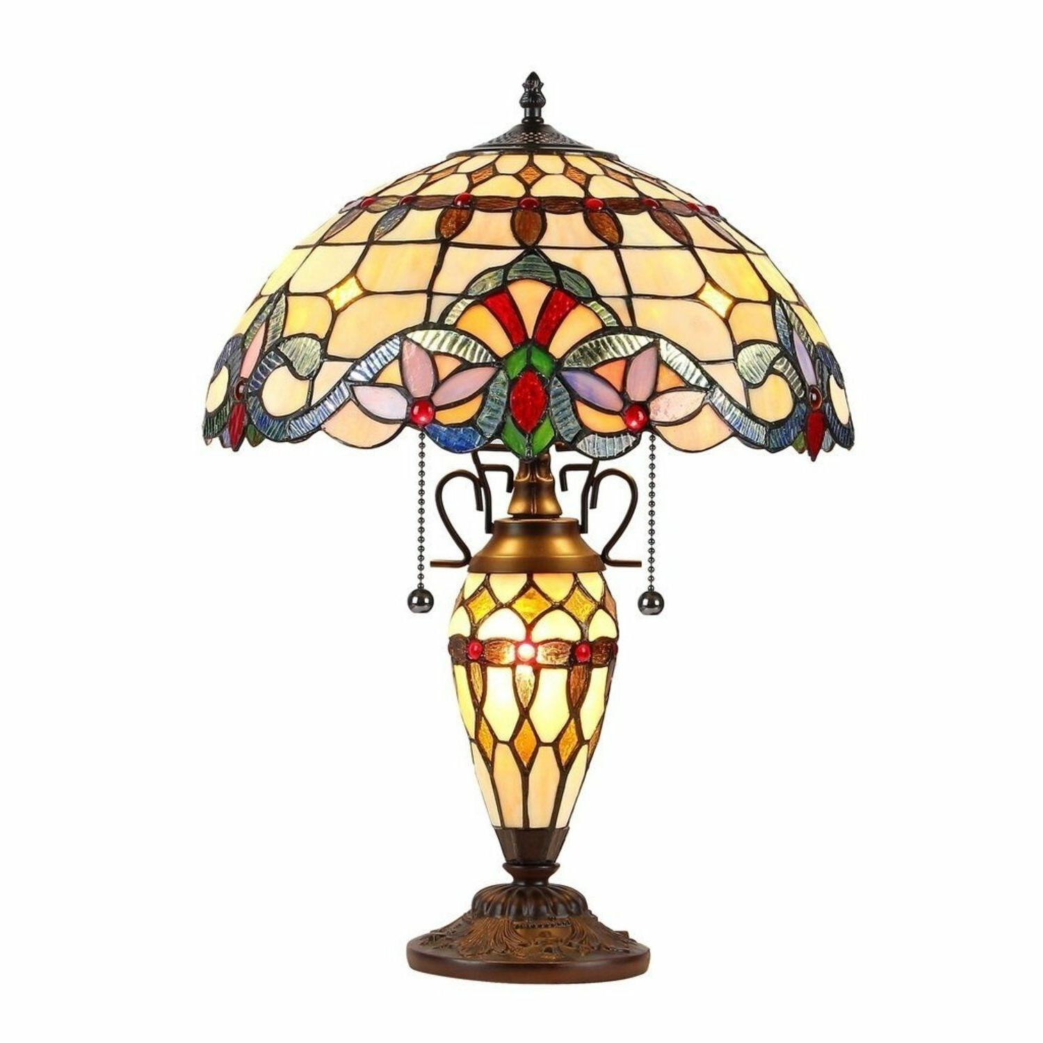 tiffany style victorian brown blue red stained