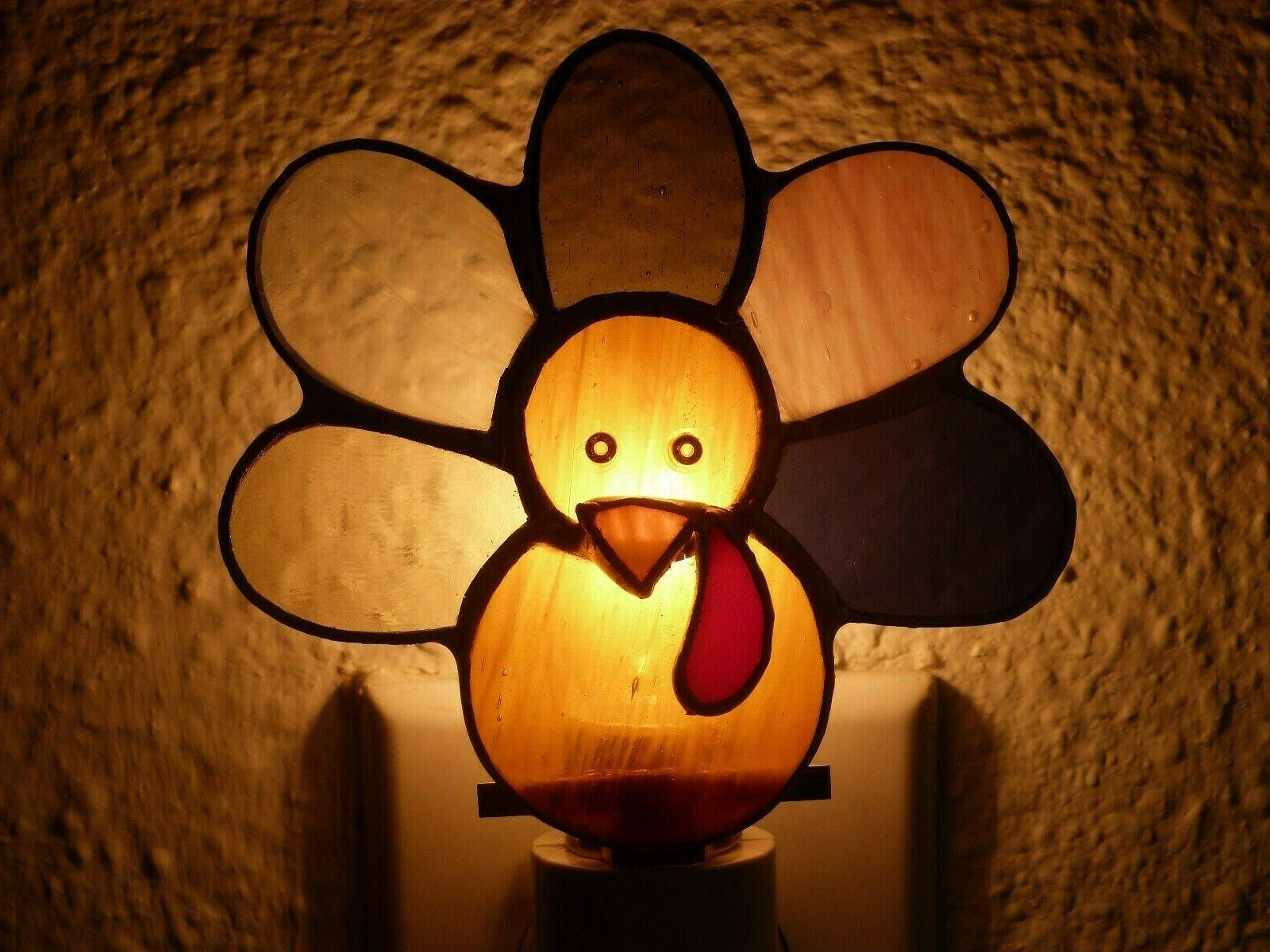 turkey night light brown stained glass plug