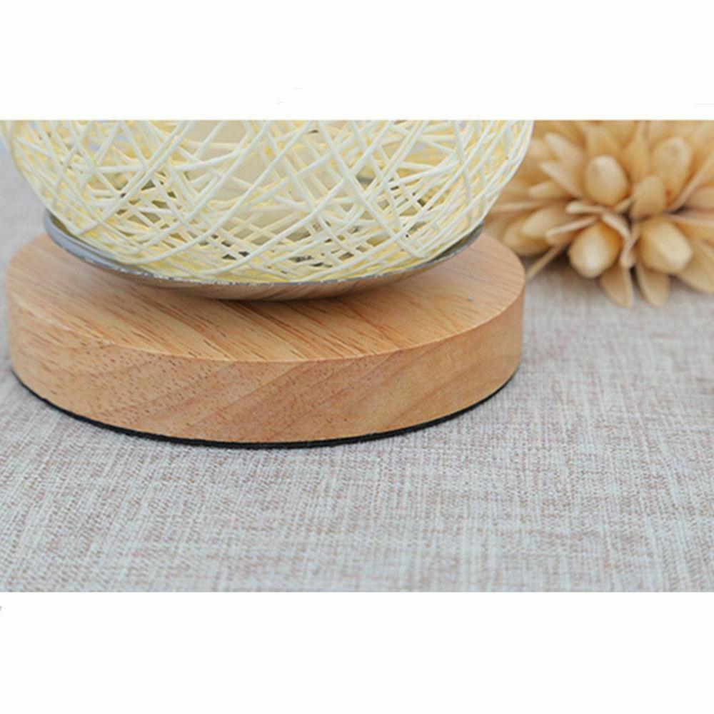Twine Lights Wood Rattan Home Art Decor Desk Light