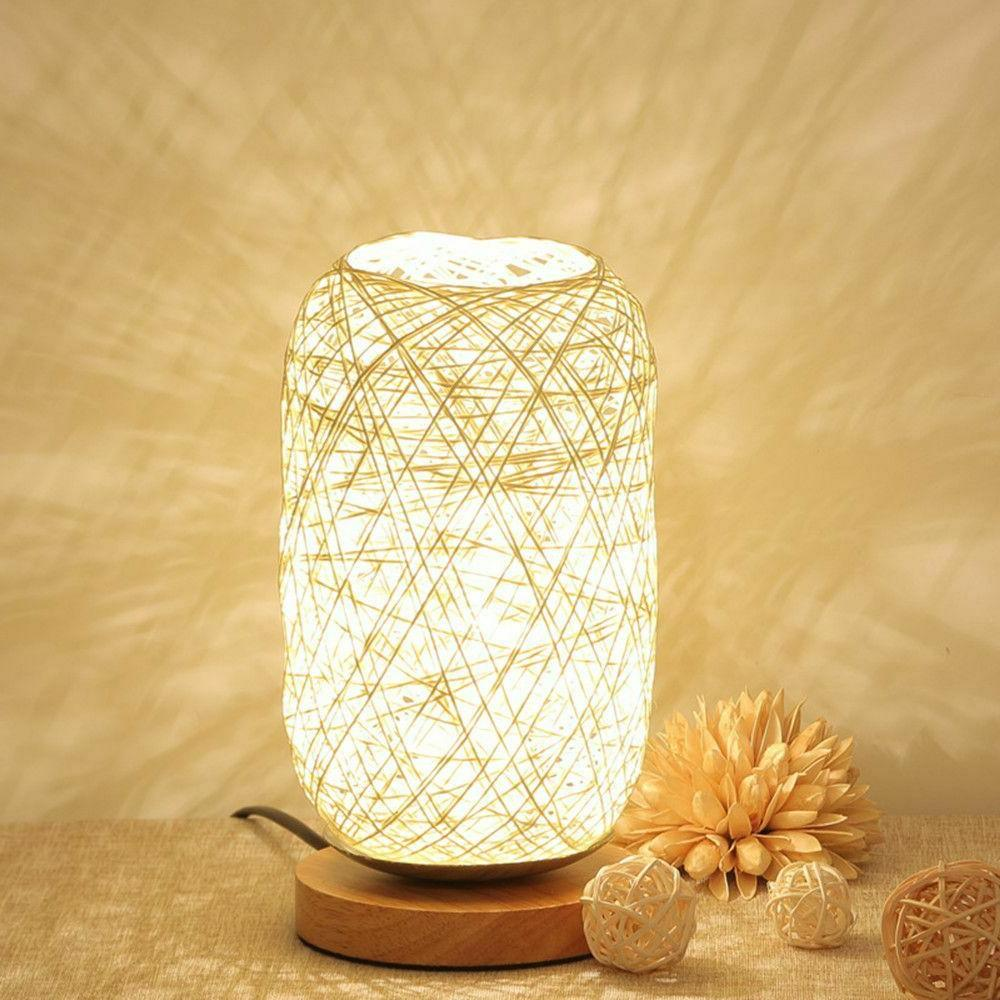 Twine Ball Wood Rattan Home Art Decor Light