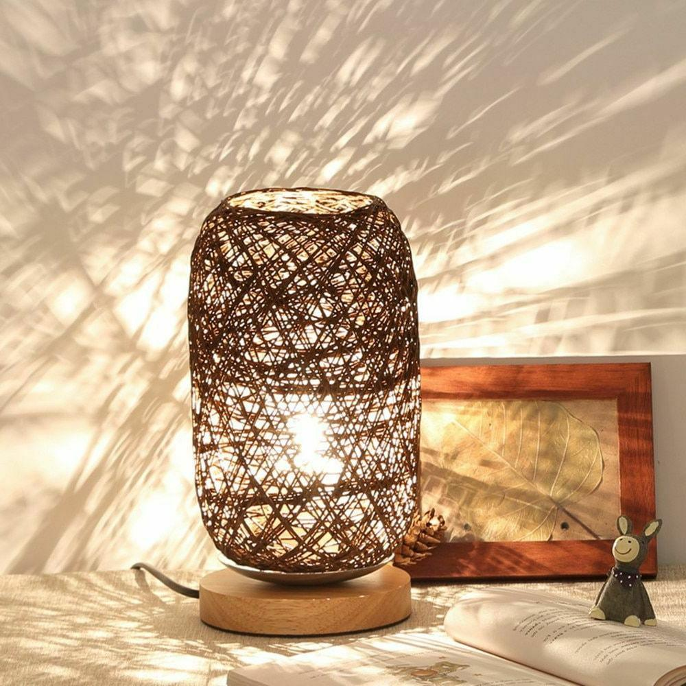 Twine Ball Lights Rattan Table Room Home Art Decor Light